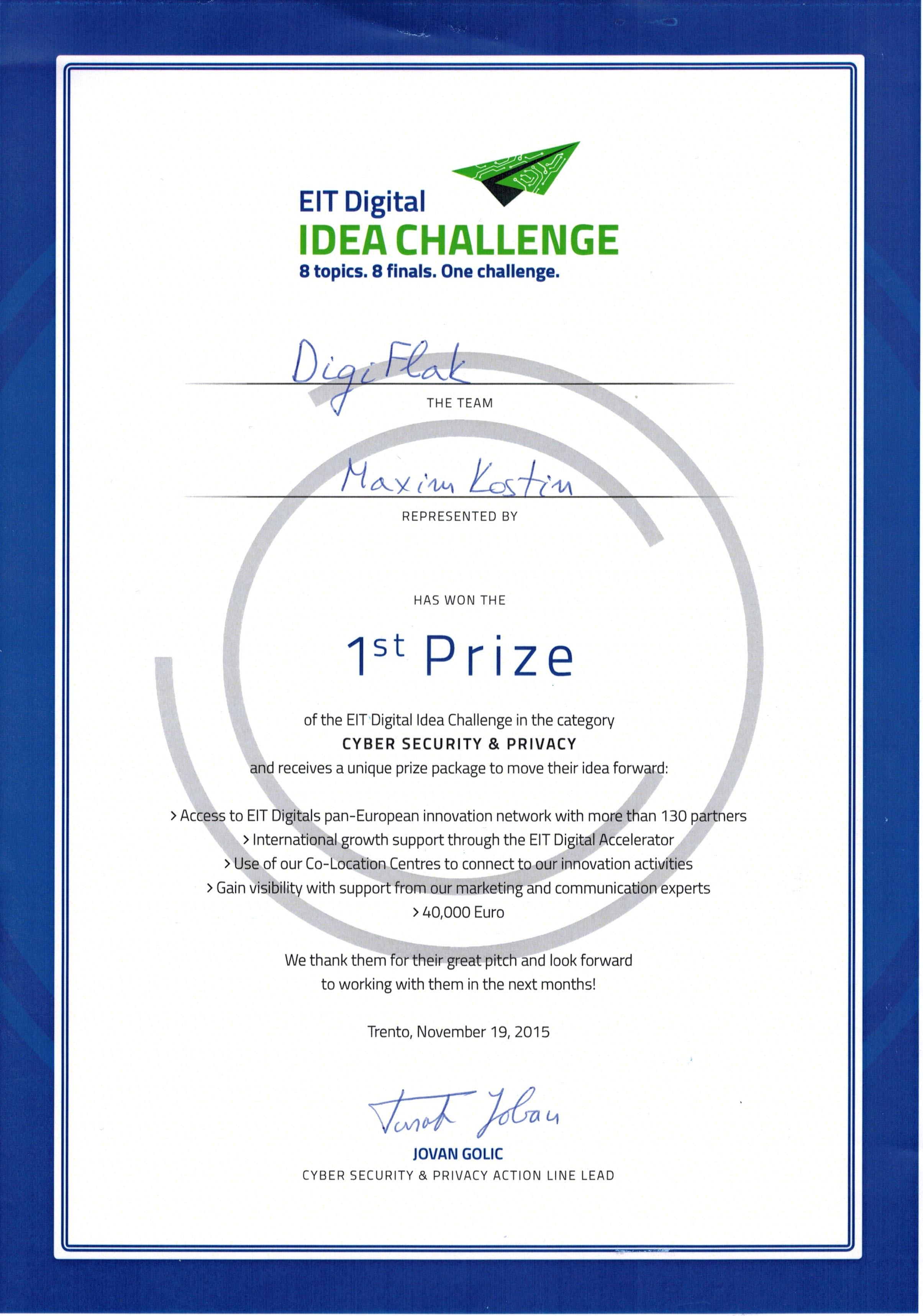 DigiFlak DigiFlak Wins the EIT Digital Idea Challenge in